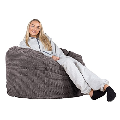 LOUNGE PUG®, Riesen Sitzsack C500-L, CloudSac Latexflocken-Mischung, Relaxsessel, Pom-Pom Anthrazit
