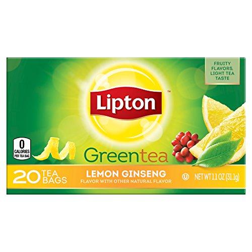 Lipton Lemon Ginseng Green Tea Bags - Pack of 20 Box
