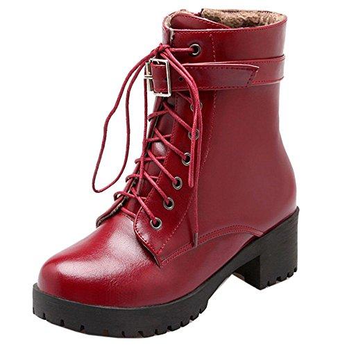 COOLCEPT Damen schnüren Kurzschaft Stiefel Künstliches kurzes Plüschfutter Rot