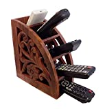 "Prisha India Craft ® Beautiful Handmade Wooden Remote Control Holder / Stand / Organizer / Rack - 7.75"" X 6"" X 3.25"" - Christmas Gift with FREE WOODEN KEYRING."