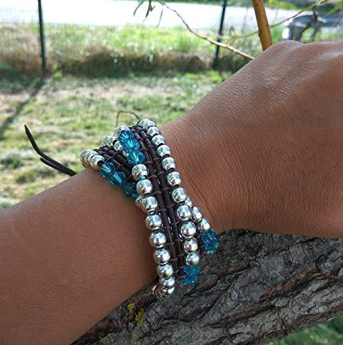 Wickelarmband 2- fach aus Leder Schnur versilbert kugeln und Swarovski Kristalle Türkis blau