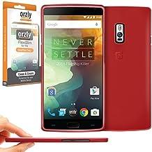 Orzly® - FlexiSlim Case para OnePlus 2 SmartPhone / Teléfono Móvil (ONE PLUS TWO - 2015 Modelo) - Super Slim (0.35mm) Funda de Protección en Semi Transparente ROJO