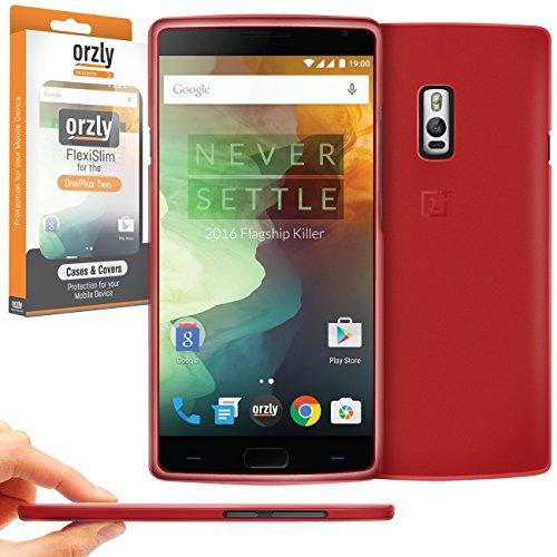 Orzly®-FlexiSlim Case für OnePlus 2Smartphone/Handy (One Plus Two-2015Modell)-Super Slim (0.35mm) Schutz Schutzhülle in Semi Transparent rot