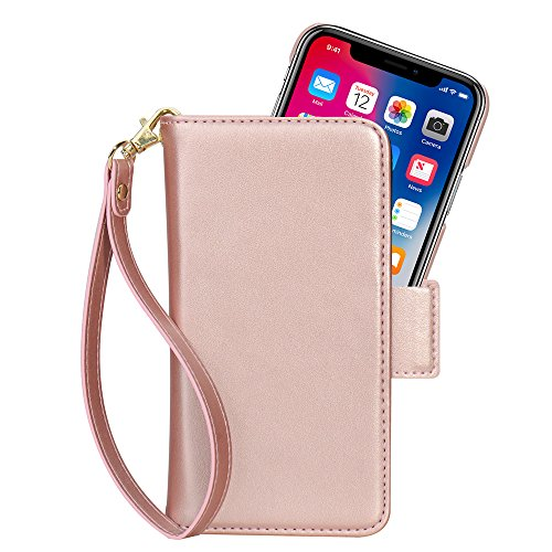 iPhone X Hülle, iPhone 10 Hülle, COCASES 2-in-1 Herausnehmbare magnetische Hülle, Kunstleder Tasche Book Style Cover Ledertasche, Standfunktion,Kartenfach Rosa Gold