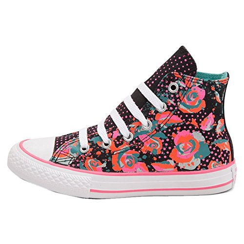 Converse Youths Chuck Taylor Hi Top Floral Canvas Trainers Schwarz Multi