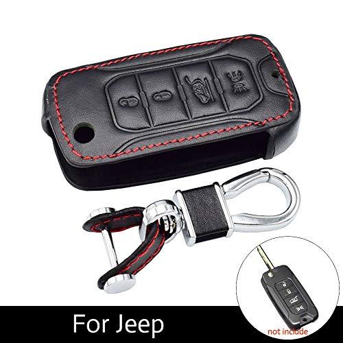 WHXHN Leder Autoschlüssel Fall 4 Tasten Folding Remote Fob Cover Protector Zubehör , Für Jeep Renegade Hard Steel 2016 Auto Schlüsselbund Tasche (Carbon Fiber Hard Hats)