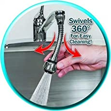 "ZZ ZONEX Stainless-Steel Turbo Flex 360 Degree Rotatory Flexible Sink 6"" Faucet Sprayer Extension with Jet Stream and Spray Settings."