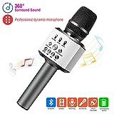 ERAY Micrófono Inalámbrico Karaoke, 3 en 1 Micrófono Bluetooth, Batería de 2600mAh, Soporta TF Tarjeta, 3.5mm AUX, Compatible con PC/iPad/Smartphone, Color Negro