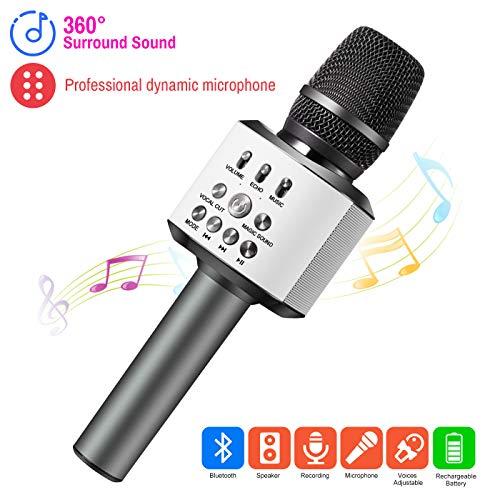 ERAY Micrófono Inalámbrico Karaoke, 3 en 1 Micrófono Bluetooth, Batería de 2600mAh, Soporta TF...