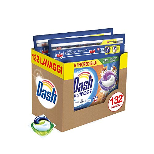 Dash allin1 pods detersivo lavatrice in capsule ambra, maxi formato 2 x 66 da 132 lavaggi