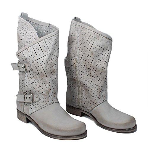 Stivali Biker Boots Estivi Traforati Morbidi Leggeri Donna In Time 0245 Grigio MantraA in Vera Pelle Made in Italy Grigio