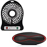 Raptas Mini Portable USB Rechargeable Fan With LED Light And Portable Rugby Shape Bluetooth Speakers Music Subwoofer