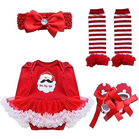 iEFiEL Vestidos de Navidad Fiesta para Bebé Niña Invierno Conjunto Infantil Pelele Algodón