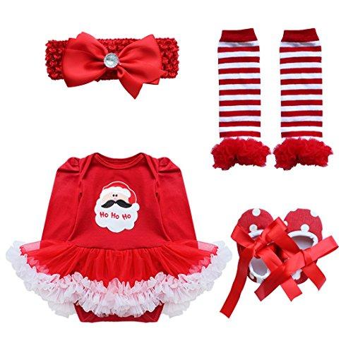 Tiaobug Baby Mädchen Bekleidung Set Langarm Weihnachten Strampler Stirndband Schuhe Beinwärme Weihnachtskostüm Weihnachtsmann 0-3 Monate -