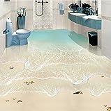 Weaeo Strand Sea Wave 3D Fototapete Benutzerdefinierte Boden Wandbild Pvc Wasserdichte Badezimmer Bodenfliesen Wandbilder Aufkleber Tapeten Selbstklebend-200X140Cm