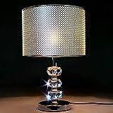 QYRL Lampe De Table, Lampe De Chevet De Chambre À Coucher Moderne, Abat-Jour en PVC Argenté, Support De Lampe en Cristal, Lam