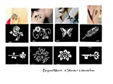 Tattoo Schablonen / Vorlagen 8 + 2 kleine Sheet für Henna Tattoo Glitter Tattoo Air Brush Tattoo Set Mini 4