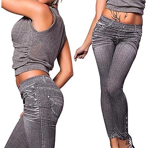 hrph Nueva manera atractiva de mostrar el fino Denim Jeans Pantalones de impresión como Kitty medias de las polainas