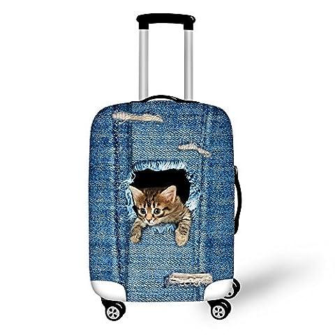 ThiKin Stylish Katze Hund Denim Print Pattern Kofferabdeckungen Durable Elastische Spandex Scratch Proof Reisegepäck Cover Protektoren Trolley Case Schutzhülle Gepäck Sleeve für 18