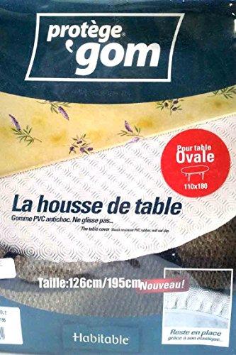 Protège table OVALE 1m26 x 1m95 - sous nappe gom élastiqué - housse de table