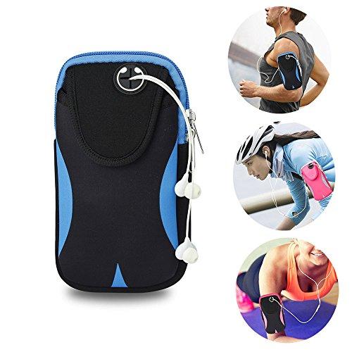 Sport Armtasche Tasche Sportarmband Hülle Laufen Handytasche für Bewegung Joggen Workout Rad fahren Wandern Reiten für iPhone X 8 7 6 6 s Plus SE 5 5 S Samsung Galaxy usw. (Schwarz/Blau)