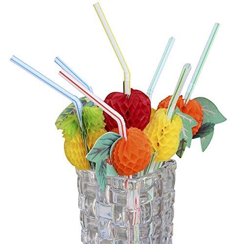 rohhalme Trinkhalme Flexhalme mit Früchten, Obst für Partys, Hochzeiten, Cocktails ()