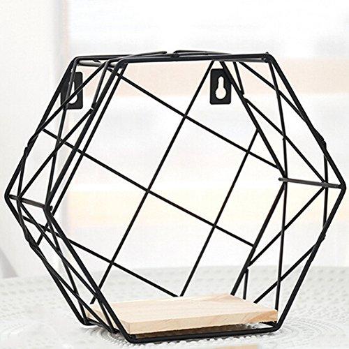 Parete a griglia di stoccaggio mensola di ferro combinazione esagonale appeso nel soggiorno camera da letto geometrica a forma di scaffale libreria decorazione (solo la mensola, gli ornamenti non sono inclusi)