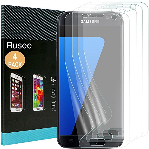 [4 Pack] Galaxy S7 Screen Protector, Rusee Ultra HD Clear Full Coverage Anti-Scratch Bubble Free Anti-Fingerprint Protective Film Cover for Samsung Galaxy S7 Test