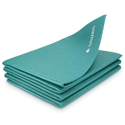 Navaris Tappetino Yoga Pieghevole Antiscivolo - Tappeto Sottile 4mm in Morbido Memory Foam per Ginnastica Pilates Esercizi - da Viaggio Parco Palestra