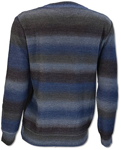 Carlo Colucci Herren Jacquard Pullover mit Intarsien in Merinowoll-Mix Jeansblau