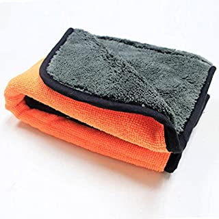 ALCYONEUS Super Thick Plush Microfiber Cleaning Cloth Car Care Wax Polish Detailing Towel (Orange)