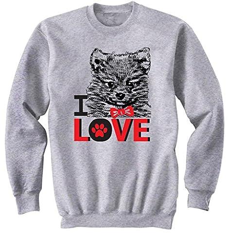 Teesquare1st Men's I LOVE POMERANIAN Grey Sweatshirt Size