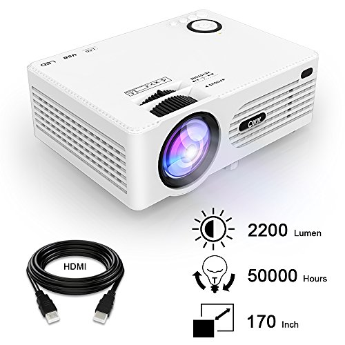 QKK 2200 Lumens LCD Beamer, Mini Heimkino Beamer, Projektor, unterstützt 1080P Full HD, HDMI, VGA, USB x 2, SD, AV und Kopfhörer Schnittstelle, inkl HDMI und AV Kabel, Multimedien Heimkino Entertainment, Weiß. (Apps Wie Netflix)