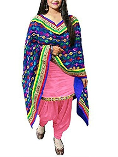 ShreeBalaji Enterprise Design Women\'s Cotton Salwar Suit Dress Material (PINK1001-FreeSize_Pink)