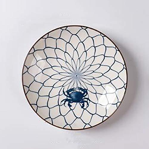 Lemon piatto da dessert piatto da frutta rotondo in ceramica vintage piatto da portata in porcellana da tavola blu e bianco per condimenti una varietà di colori disponibili (colore : b)