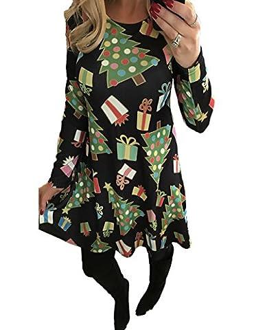 Robe de Noël Manches Longues Femme Fille Imprimé Bonhomme de