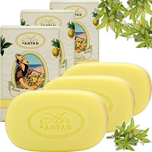 Provence Grün Butter Seife (Un Air d'Antan 3er Set - Sanfte Stückseife mit Bio Ölen Provence - Parfum Verbena, Bergamotte, Zitrone - Für Männer und Frauen - Für Sie oder als Geschenke - Angebote 3er Pack (3x100g Seife))