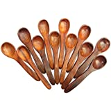 Star Enterprises Wooden Small Spoons Salt,Sugar And Masala Seasoning Spoon Utensils Flatware Hand Carved Palm Wood - Set Of 12 (Table Spoon Size)