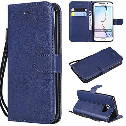 Bear Village Funda Galaxy S6 Edge Plus, Cuero Soporte Plegable Carcasa Anti-Rasguño Cover, Estilo Libro Protección De Cuerpo Completo Funda para Samsung Galaxy S6 Edge Plus (#6 Azul)