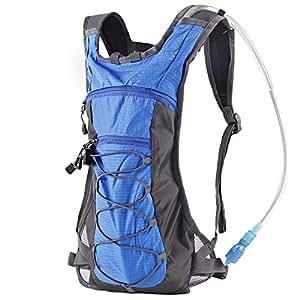 Trinkrucksack Hydrationspack mit 2L Trinkblase für Joggen, Wandern, Radfahren, Camping und Bergsteigen (Blau)