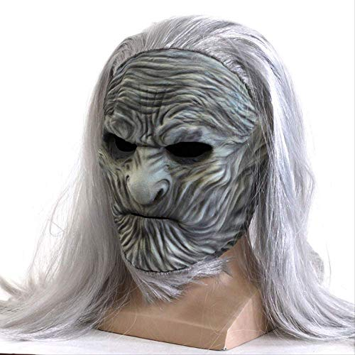 yryu Film Game of Thrones The White Walkers Maske Cosplay Nacht König Zombie Latex Masken Mit Perücke Halloween Party Phantasie Kostüm (Eine Nacht Mit Dem König Kostüm)