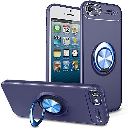 BtDuck Soft Ultra Slim Matt Dünn Silikon Hülle für iPhone SE/iPhone 5S Slim mit Metall Ring Handyhalterung Auto Magnet Ständer Schutzhülle Smartphone Halter Ständer Ringhalter Mädchen Hülle Blau