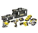 DeWalt Akku-Kombopack (bestehend aus: Dreigang-Schlagbohrschrauber, Handkreissäge, Stichsäge, Säbelsäge/inkl. 3x 18 V, 5 Ah Li-Ion Akkus, System-Schnellladegerät, Tough Boxen DS150 und DS300) DCK455P3