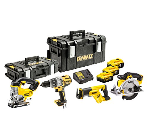 DeWalt DCK455P3 Akku-Kombopack (Dreigang-Schlagbohrschrauber, Handkreissäge, Stichsäge, Säbelsäge/inkl. 3x 18 V, 5 Ah Li-Ion Akkus, System-Schnellladegerät, Tough Boxen DS150 und DS300)