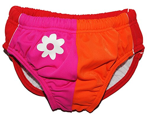Badewindelhose Blume - UV Schutz - Badehose mit Windel - Größe 3 - 6 Monate - Gr. 62 / 68 - für Kinder - Schwimmwindeln - Mädchen Jungen - Badewindel Schwimmwindel - Windelbadehose mit Kordel - Sonnenschutz