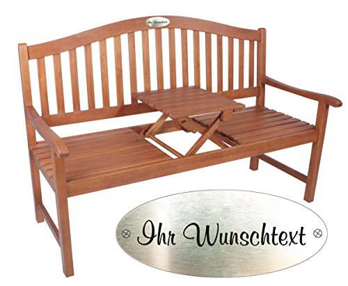 Gartenbank mit Gravur von Ihrem WUNSCHTEXT mit Tisch in der Bank für Gartenliebhaber | Farbe Natur - formschöne personalisierte gravierte Holz-Bank aus Eukalyptus-Holz