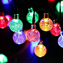 Outside Solar String Lights Globe, Outdoor Crystal Ball 30 LED Fairy lights, Waterproof Garden, Fence, Christmas, Tree, Home, Holiday, House, Yard, Wedding, Party Decoration Lighting - Multi Colour, 21FT, 8-in-1 Mode