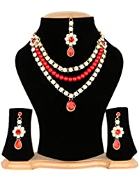 American Diamond Stylish Party Wear Designer Traditional Necklace Pendant Set With Earring For Women/Girls