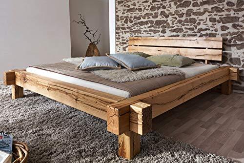 Riess Ambiente Massives Bett Thor II 180x200cm Wildeiche geölt Holz Bett Holzbett Doppelbett