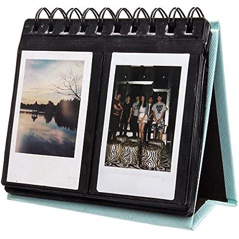 Woodmin Schreibtischkalender Album für Instax Mini 7s 8 70 25 50 90, Polaroid Z2300, Polaroid PIC-300P Película (Blau, 72 Fotos)